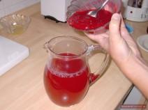 Stir in fresh cranberry juice. Serve cold.