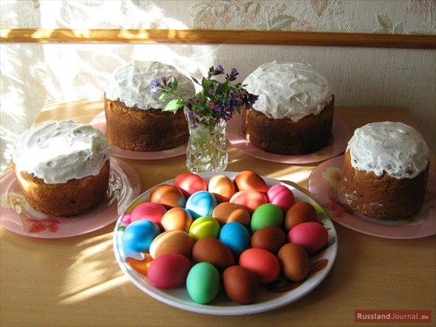 Typical easter table in Russia