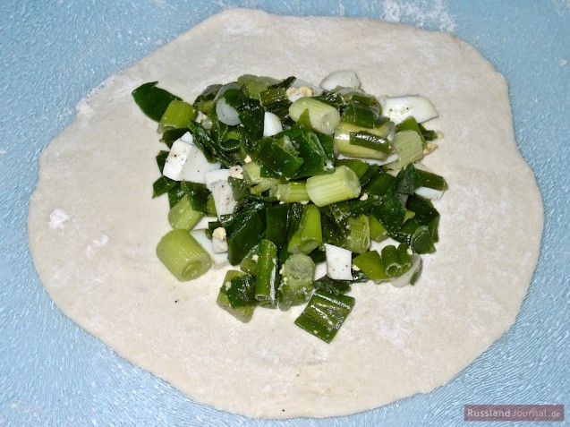 Pierogi filling: Green onions with egg