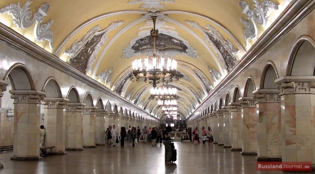 The magnificent hall of Komsomolskaya Metro Station in Moscow