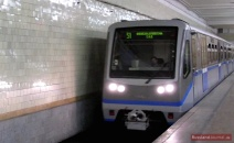 A modern train of the Moscow Metro