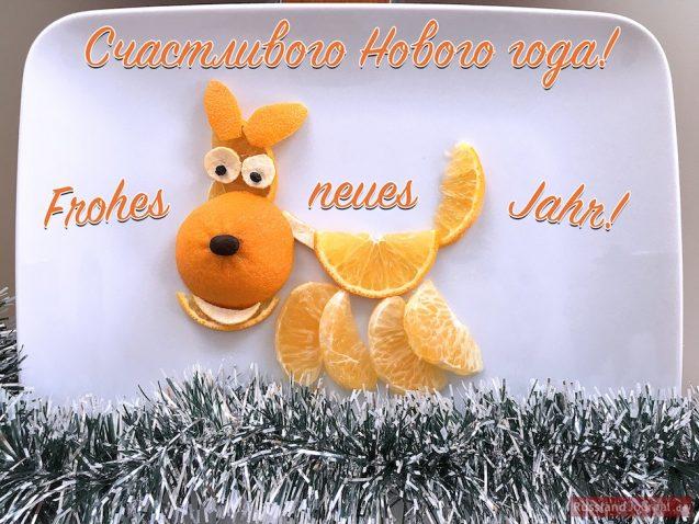 Hund aus Mandarinen mit dem Text Счастливого Нового года und Frohes neues Jahr