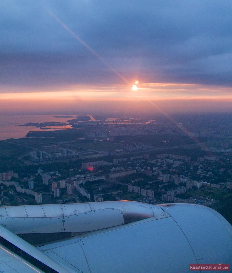 Anflug auf St. Petersburg