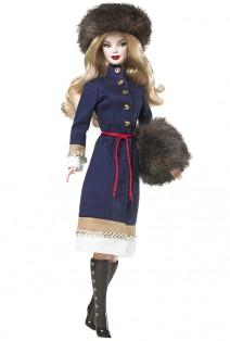 Russia Barbie Puppe mit Pelzmütze und Muff
