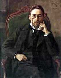 Porträt von Anton Pawlowitsch Tschechow im schwarzen Anzug sitzend auf den grünen Sessel