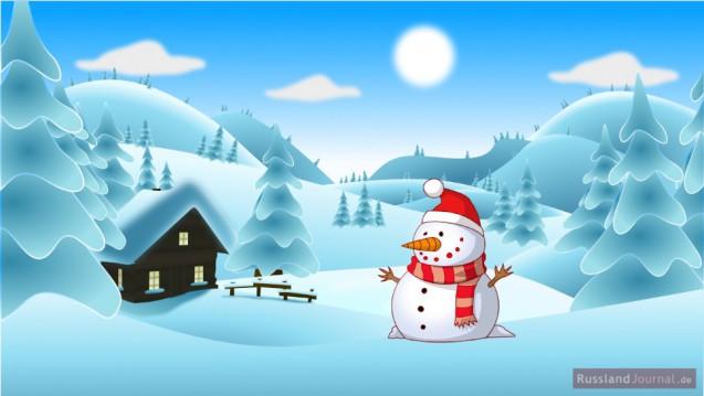 Schneemann in Schneelandschaft