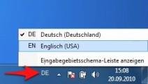 Eingabegebietsschema-Leiste mit Deutsch und Englisch nach einer Windows 7 Installation