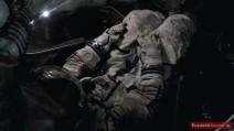 Kosmonaut im Lande-Modul