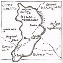 """Karte von Sibirien mit Stationen der Reise in diesem Gebiet aus dem Buch """"Mein russisches Abenteuer"""" von Jens Mühling"""