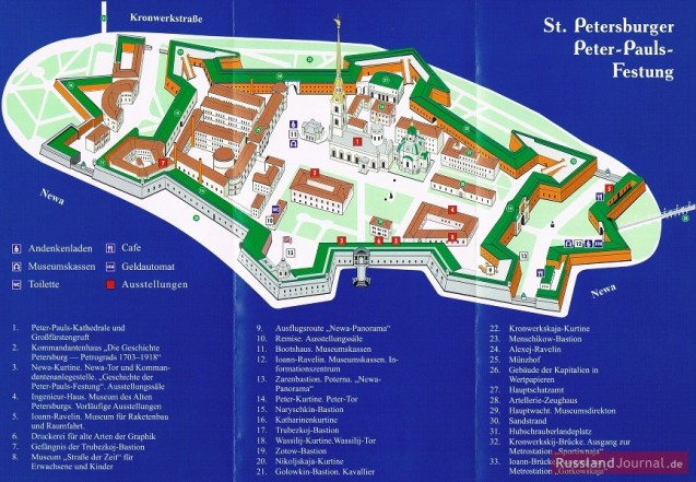 St. Petersburger Peter-Paul-Festung: Offizieller Plan der Festung
