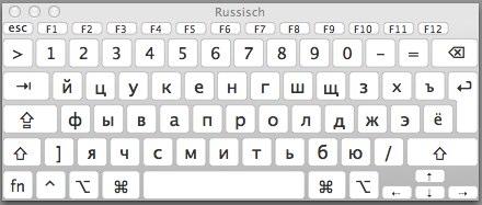Virtuelle russische Tastatur auf dem Mac