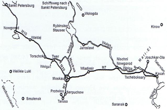 Russland anders: Karte Wolga-Flussverlauf