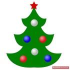 Tannenbaum mit rotem Stern und weißen, blauen und roten Kugeln
