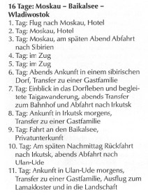Transsib Reiseroute