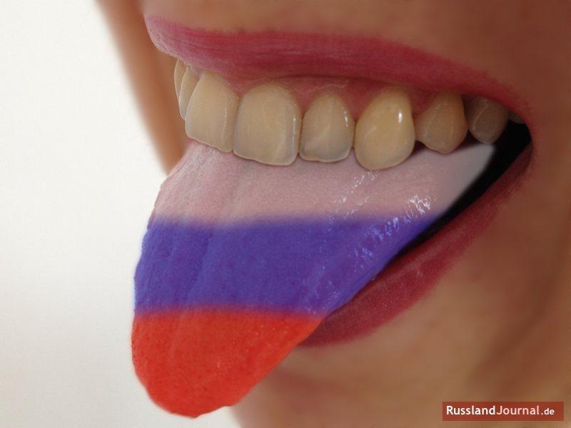Zunge in russischen Farben