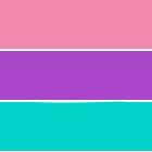 Farbstreifen: rosa, lila und türkis