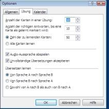 Optionen beim Vokabeltrainer Tutor im ABBYY Lingvo Wörterbuch x3