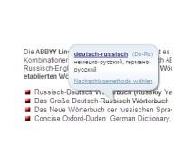 Pop-Up Übersetzung im Webbrowser im ABBYY Lingvo Wörterbuch x3