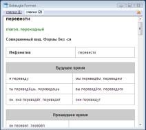 Konjugation des russischen Verbs für übersetzen im ABBYY Lingvo Wörterbuch x3