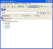 Eingabefenster im E-Wörterbuch Russisch/Deutsch Word Explorer 2.0