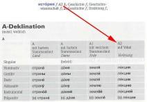 Deklinationstabelle für Substantive im PONS Kompaktwörterbuch Russisch
