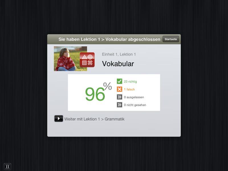 """Ergebnisse """"Sie haben Lektion 1 Vokabular abgeschlossen"""" bei iPad-App Rosetta Course Russisch"""