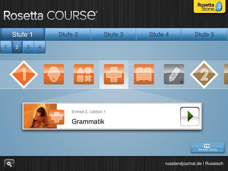 Stufe 1, Einheit 2, Lektion 1 Grammatik, Übersicht von Übungen bei iPad-App Rosetta Course Russisch