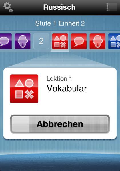 Lektionen 1 Vokabular in der iPhone-App Rosetta Course Russisch