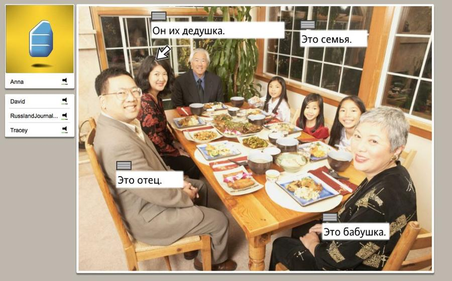 Am Tisch sitzende Familienmitglieder benennen bei einer Studio-Sitzung bei Rosetta Stone Russisch TOTALe
