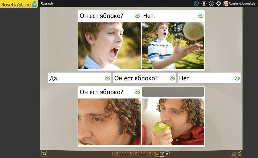 Frage mit gelerntem Wort beantworten - eine Vokabel-Übung bei Rosetta Stone Russisch TOTALe
