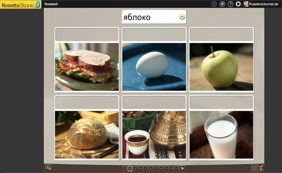 Wort einem Bild zuordnen - eine Vokabel-Übung bei Rosetta Stone Russisch TOTALe