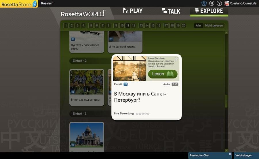 Anweisung zu einer Geschichte bei Rosetta Stone Russisch TOTALe