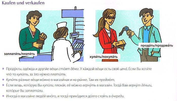 """Sätze mit russischen Vokabeln zum Thema """"Kaufen und verkaufen"""" aus dem Übungsbuch Lextra Grundwortschatz Russisch"""