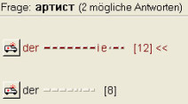Vokabeltrainer von Win Vokabel Russisch 5.0: Zwei deutsche Wörter eingeben, die dem russischen  Wort артист entsprechen