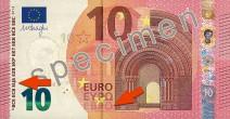 10 Euro Banknote mit Pfeilen zu Euro und EZB in kyrillischer Schrift