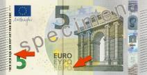 5 Euro Banknote mit Pfeilen zu Euro und EZB in kyrillischer Schrift