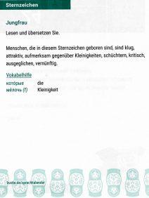 Text zur Jungfrau auf Deutsch mit Vokabelhilfe, Sprachkalender Russisch 2018