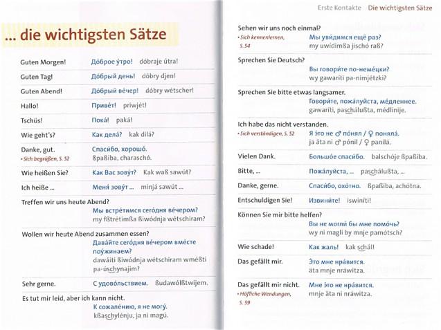 """Doppelseite mit den wichtigsten Sätzen aus dem Kapitel """"Erste Kontakte"""""""