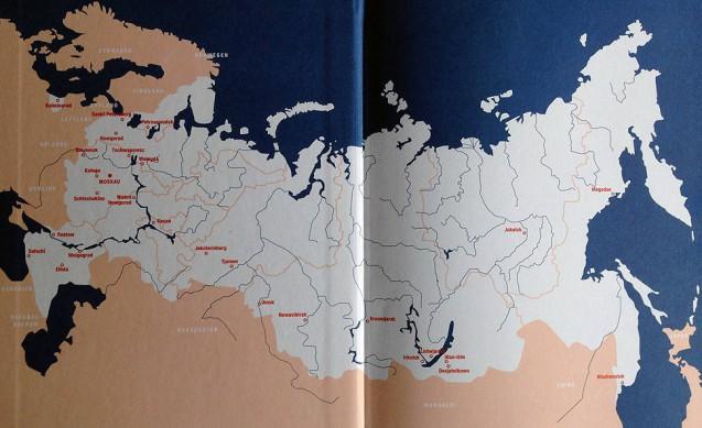 Landkarte aus dem Buch Russland: Menschen und Orte in einem fast unbekannten Land