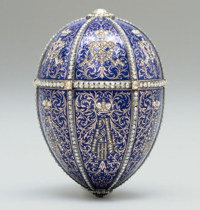Blaues Fabergé-Ei 12 Monogramme