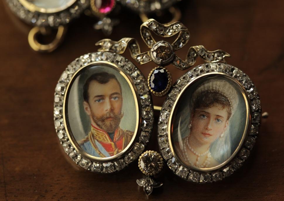 Faberge Porträts Nikolaus II und Alexandra