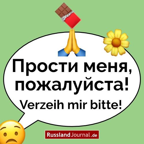 Besorgtes Emoji-Gesicht mit der Sprechblase Прости меня, пожалуйста! = Verzeih mir bitte! auf Russisch