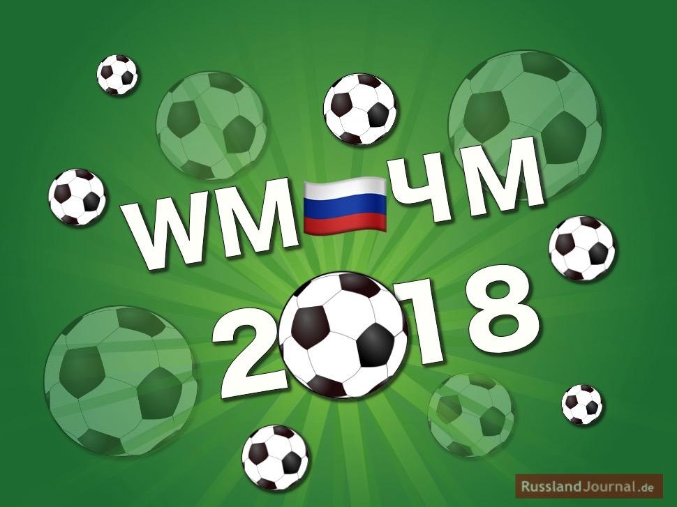 Fliegende Fußbälle auf grünem Hintergrund mit russischer Fahne und Aufschrift: WM=ЧМ 2018