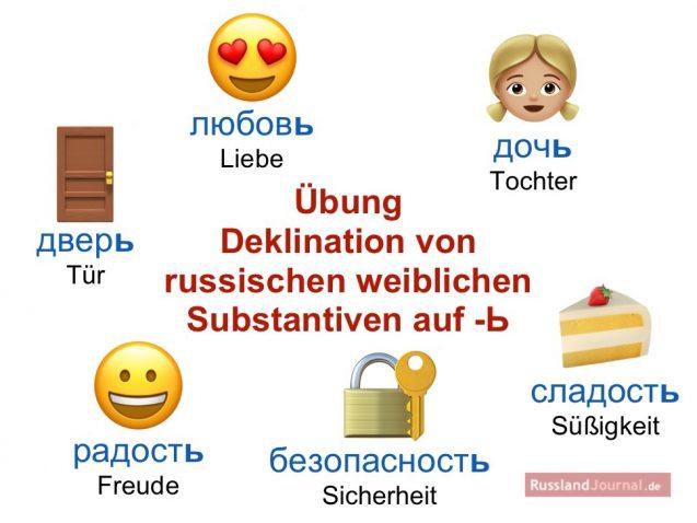 Russische weibliche Substantive, die auf Weichheitszeichen