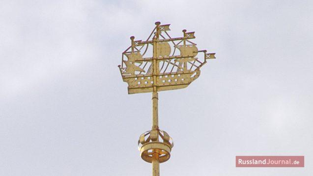 Wetterfahne auf der Admiralität in St. Petersburg