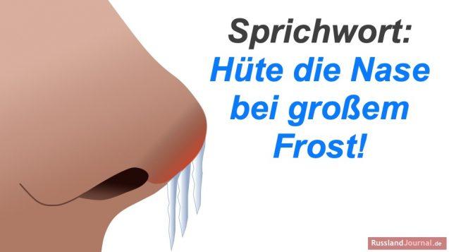 Nase mit Eiszapfen und Spruch Hüte die Nase bei großem Frost