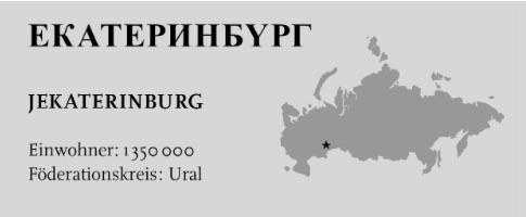 Russlandkarte mit Jekaterinburg als Stern markiert