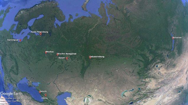Beliebte Reiseziele in Russland auf der Karte