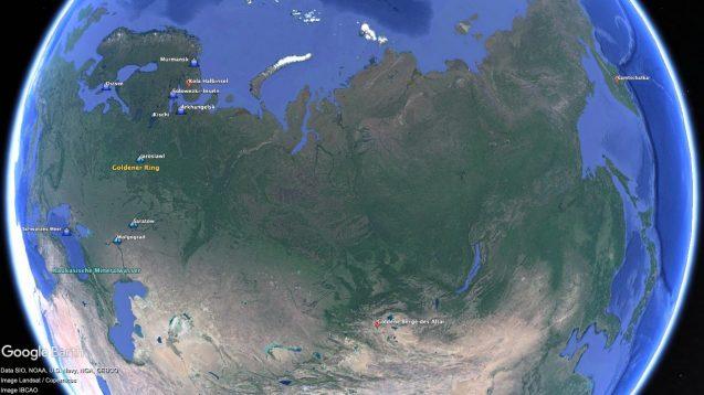 Globus mit weniger bekannten Reisezielen in Russland