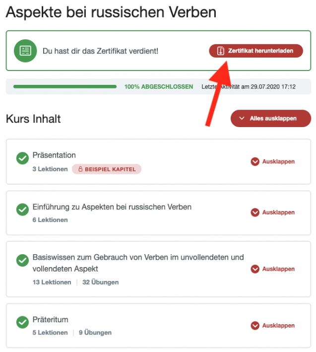 Zertifikat herunterladen Button